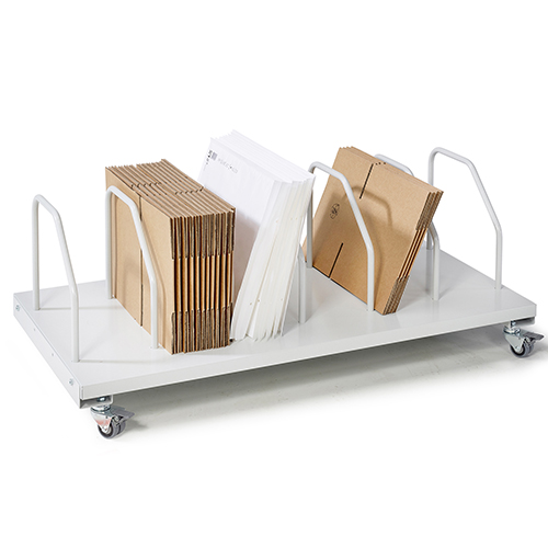 Sovella Nederland Treston lage kartontrolley met 7 verdelers voor 6 kartonnen voor onder een inpaktafel