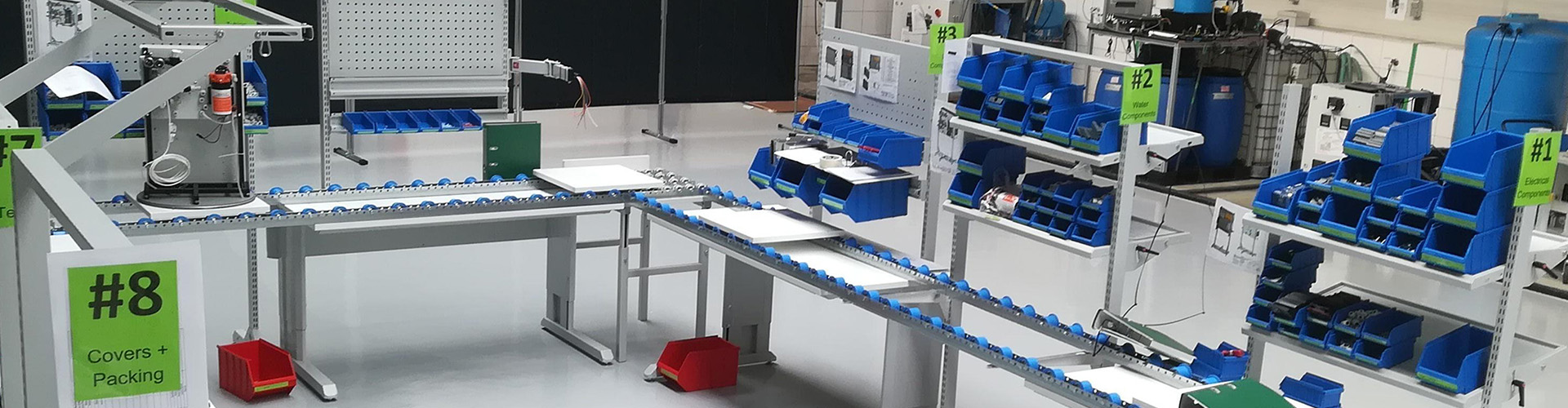 Sovella Nederland Treston Multiline handmatige assemblagelijn met werktafels en inpaktafel