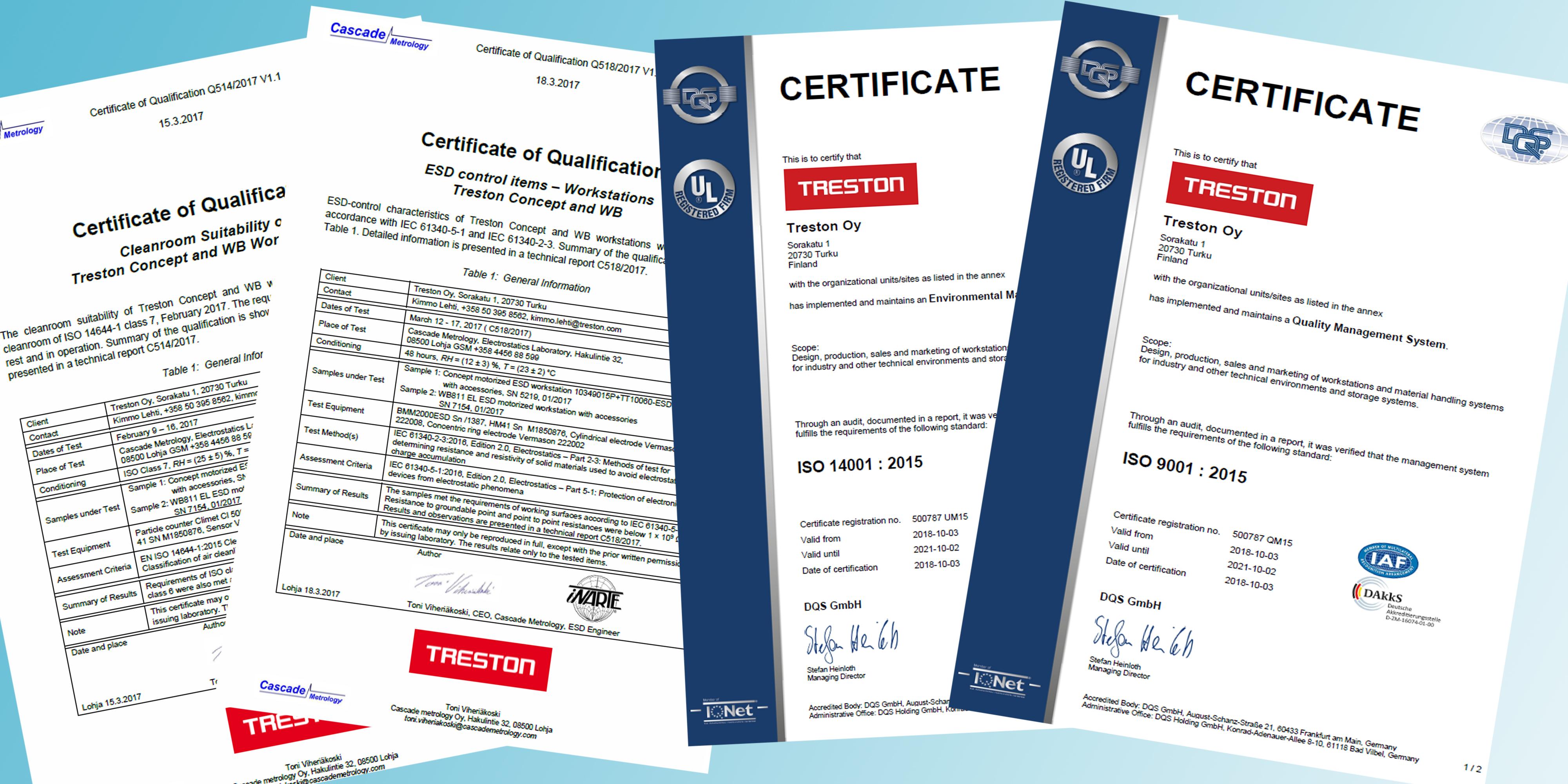 Sovella Nederland Treston certificaat ESD-veilig, Cleanroom, Kwaliteit en duurzaamheid