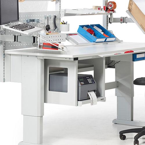 Sovella Nederland Treston modulaire inpaktafel - magazijn werkbank en logistieke werkplek met printerhouder onder tafelblad