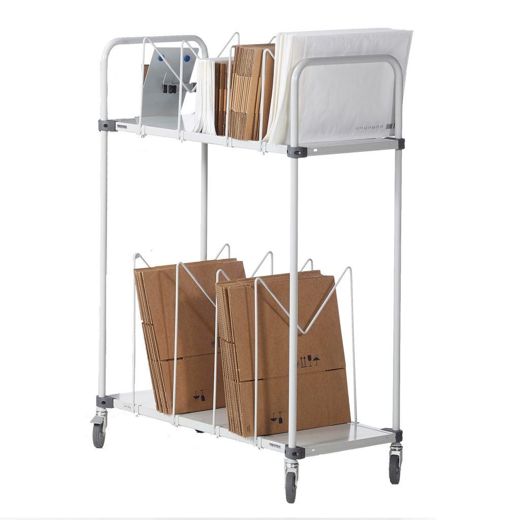 Sovella Nederland Treston karton trolley voor nabij logistieke werkplek en magazijn werktafel of inpaktafels voor webshop