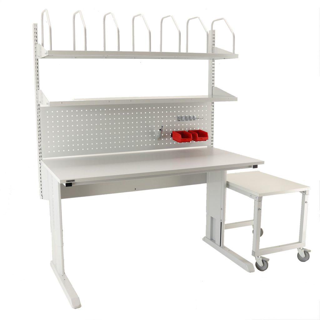 Sovella Nederland Treston inpaktafel concept met gereedschapsbord hakenset karton houder en legbord - logistieke werkplek - magazijn werktafel met bijzet trolley voor grote dozen