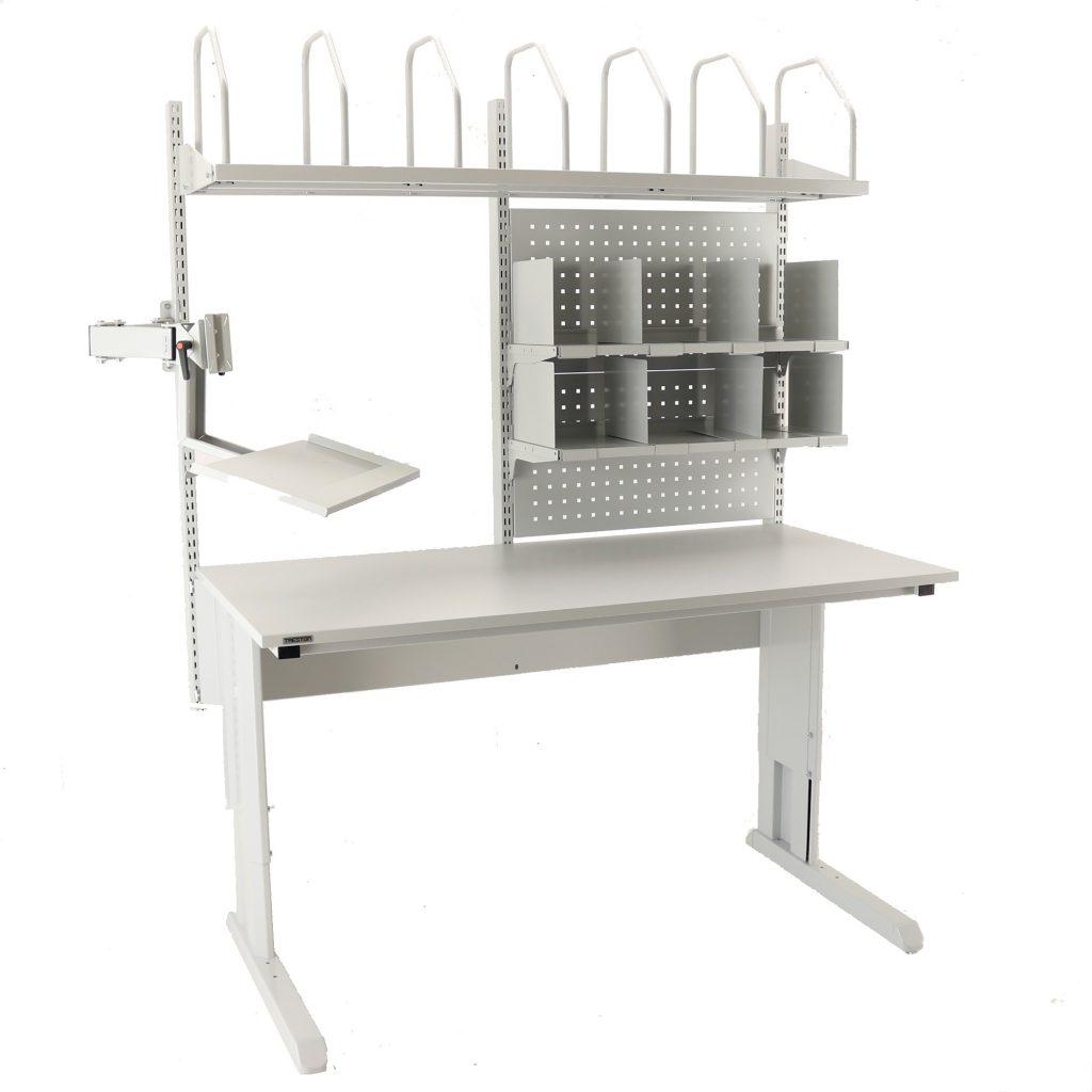Sovella Nederland Treston inpaktafel met karton houder beeldschermhouder en vakkenkast modulair - logistieke werkplek - magazijn werktafel