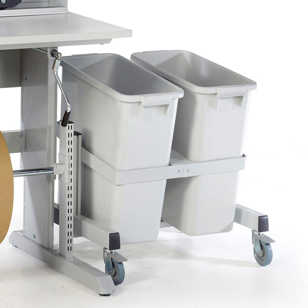 Sovella Nederland Treston recycle emmer trolley onder een concept inpaktafel - logistieke werkplek - magazijn werktafel