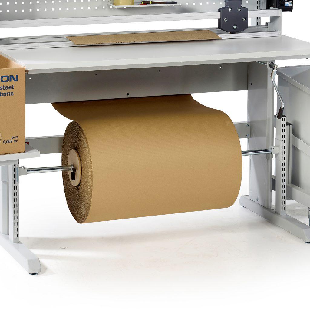 Sovella Nederland Treston rolhouder onder concept inpaktafel - logistieke werkplek - magazijn werktafel