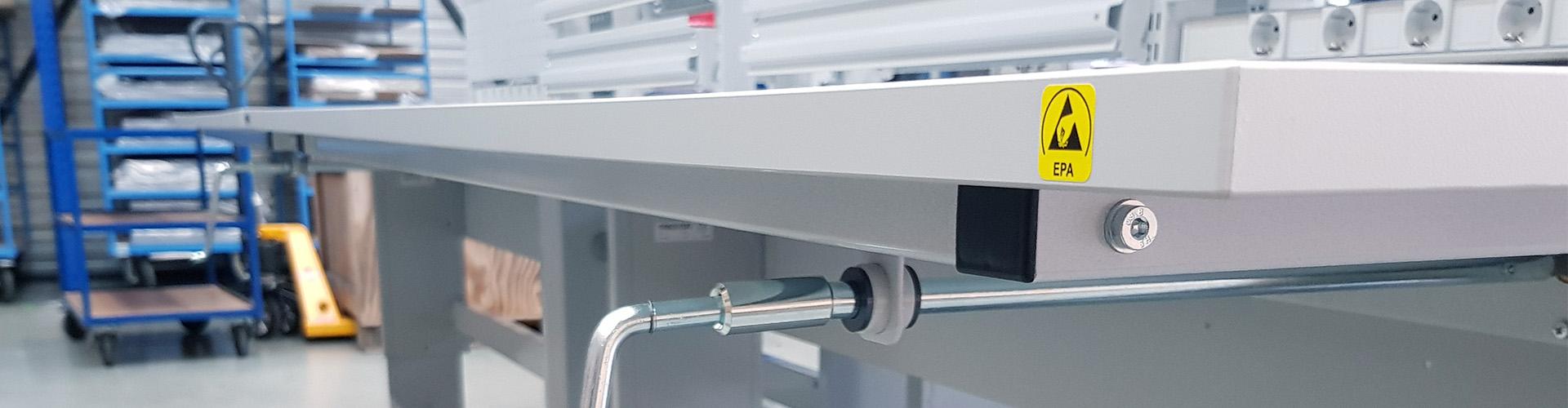 Sovella Nederland Treston header concept werktafel met zwengel verstelling en ESD-veilig