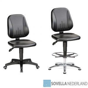 Sovella Nederland Treston werkplaatsstoel en zadelkruk voor productie en ESD nabij de werktafel