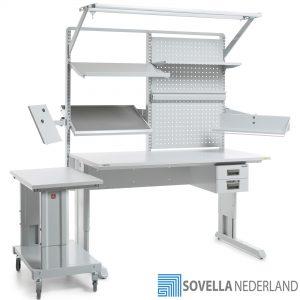 Sovella Nederland Treston concept werktafel met ergo trolley en accessoires voor ESD toepasisng