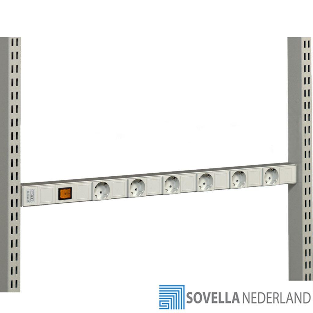 Sovella Nederland Treston Energierail met stopcontacten boven een werkbank