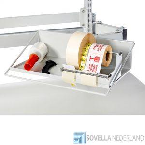 Sovella Nederland Treston tray op zwenkarm voor een logistieke werkplek of magazijn paktafel