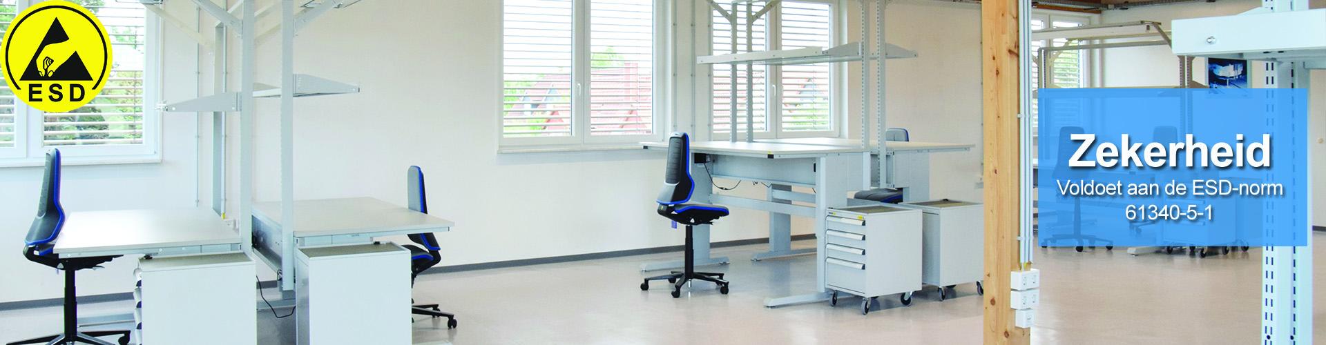 Sovella Nederland Treston ESD ladekasten verrijdbaar bij ESD werktafel