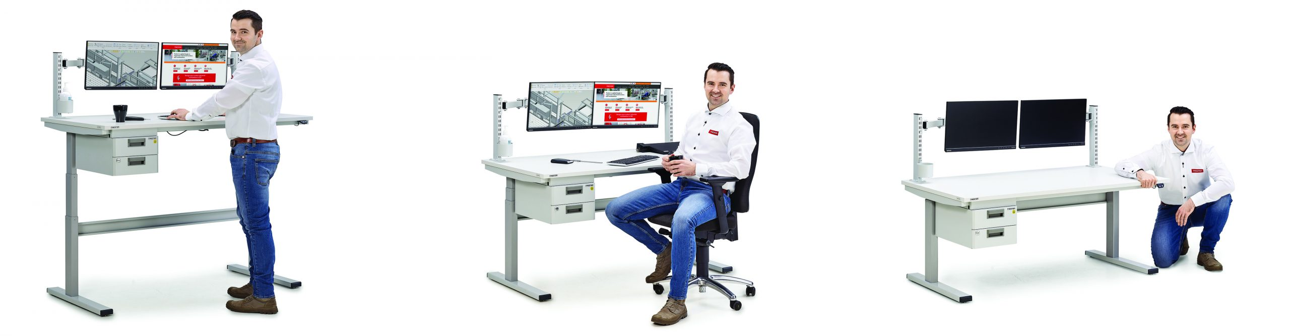 Sovella Nederland Treston concept werktafel Zit sta werkplek voor industrie en logistiek